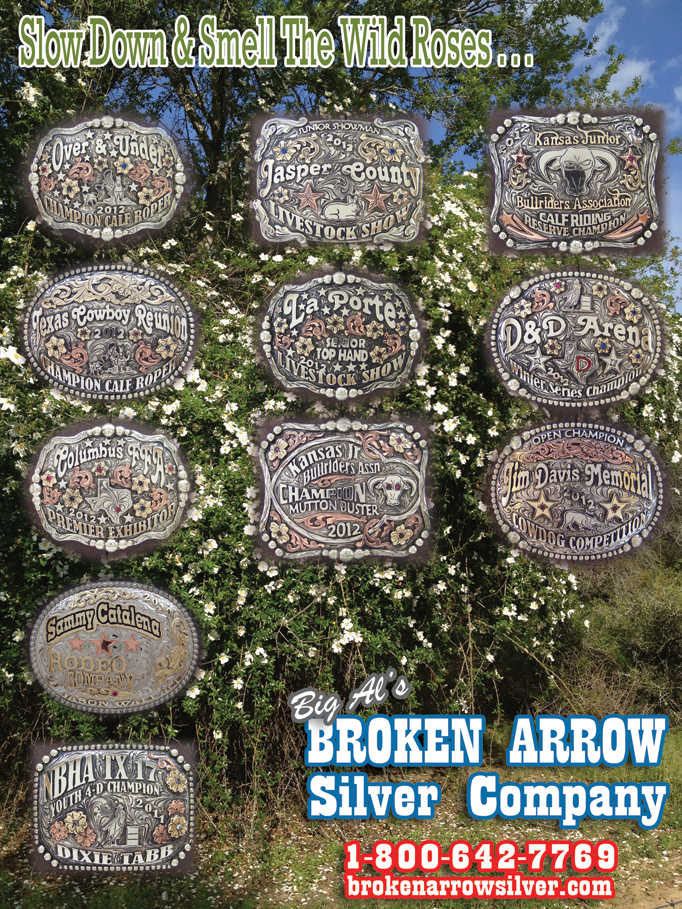 April 2012 - Broken Arrow Silver Company.. Rodeo Buckles, Tiara Queen, Pro - Amateur